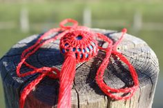 crochet necklace  cotton and chrysocolla stone  http://www.danael.name/