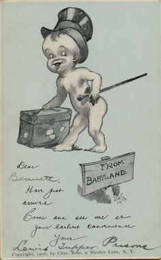 Beautiful Vintage New Baby Announcement Postcard Victorian