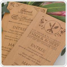NEW! Wooden engraved DL size Menus! http://www.personalisedfavours.com.au/weddings/engraved-wooden-wedding-menus