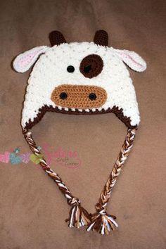 Cow Hat - Crochet Cow Hat - Baby Cow Hat - Farm Animal Hat - Newborn Photo Prop - Child Cow Hat
