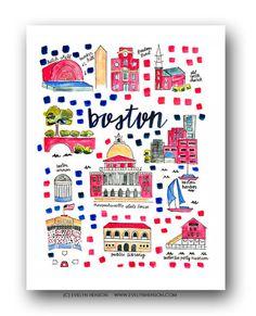 Boston Map Print