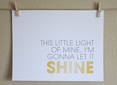 Nursery Wall Art Print, Little Light of Mine, 8x10 | HopSkipJumpPaper on etsy