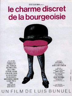 The surrealist-inspired posters for Luis Buñuel's movies are some of my favourites. For one thing, the images have nothing to do with the film, yet convey the tone and subversive nature of Buñuel's style so well. I've always loved this poster for Discreet Charm of the Bourgeoisie.