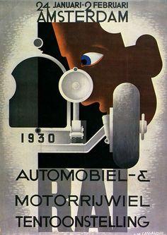 Poster by A. Cassandre, ca Automobiel Motorrijwiel Tentoonstelling, Amsterdam. Poster Art, Art Deco Posters, Cool Posters, Retro Posters, Modern Graphic Design, Retro Design, Graphic Art, Vintage Advertisements, Vintage Ads