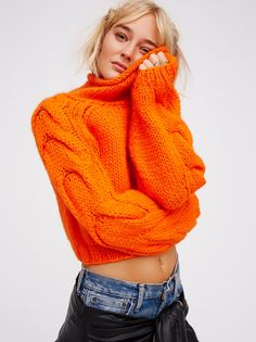 Florence Cable Pullover   Super chunky pullover sweater with a large, drapey neckline and extra-long sleeves with cute cable knit detailing.