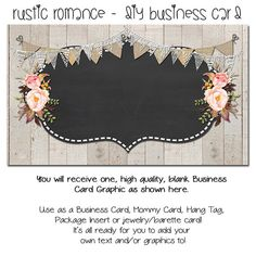 Custom PreMade Business Cards - Rustic Romance - Etsy Custom Template Made to Made Facebook and Etsy Store Set Also Available