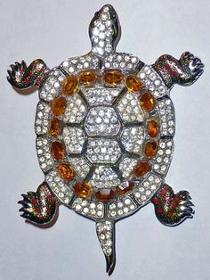 1940's Coro Craft Huge Enamel Topaz Rhinestone Turtle Brooch Pin | eBay