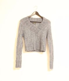 Dex Women's Small Knitted Sweater Top Grey Fashion Designer Long Sleeve #Dex #VNeck