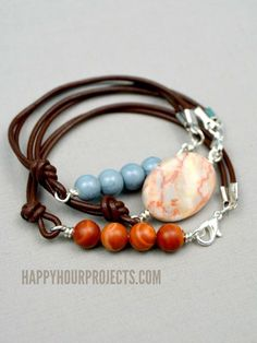 Side Clasp Leather and Stone Bead Bracelets at www.happyhourprojects.com | Make…