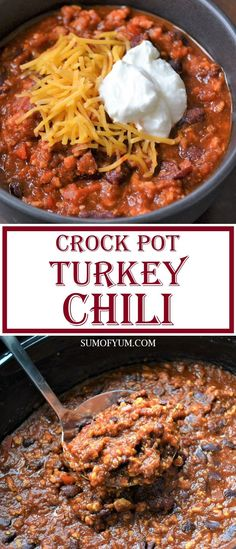 Turkey Chili is both healthy and delicious! It is perfect for dinner on a chilly night, or for when you have friends over to watch the football game. It is made in a Crock Pot / Slow Cooker, which makes it so easy. #chili