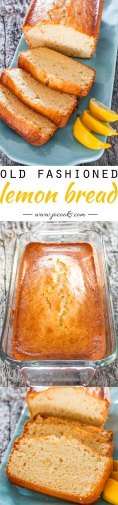 Old Fashioned Lemon Bread - An incredibly delicious quick bread. Totally lemony and tasty and so easy to put together. More Lemon Bread ***Old Fashioned Lemon Bread Lemon Desserts, Lemon Recipes, Sweet Recipes, Delicious Desserts, Dessert Recipes, Yummy Food, Bread Cake, Dessert Bread, Quick Bread Recipes