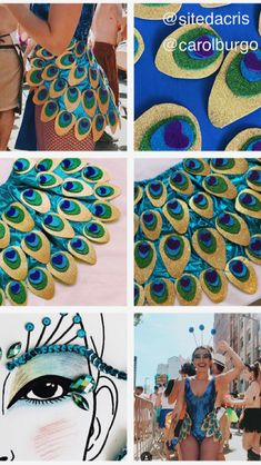 Idea for making own version Carnival Costumes, Diy Costumes, Dance Costumes, Cosplay Costumes, Peacock Costume, Fantasias Halloween, Halloween Disfraces, Rave Outfits, Halloween Diy