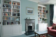 Decorate your room with an awesome Bookshelves, and this 60 Awesome Interior Design Bookshelves Ideas Alcove Bookshelves, Alcove Shelving, Built In Bookcase, Book Shelves, Bookcases, Shelves Around Fireplace, Fireplace Bookcase, Home Living Room, Living Spaces