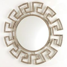 Dimensions Dia x Features Greek Key Round Mirror-Hammered Nickel The classic form of the … Interior S, Decor Interior Design, Interior Decorating, Cool Mirrors, Round Mirrors, Mirror Mirror, Mirror Ideas, Chandeliers, Living Room Mirrors