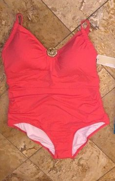 2cfcabbd416 Nwt $150 Michael Kors Orange MK Logo Charm One-Piece Swimsuit Plus Size  Women's #