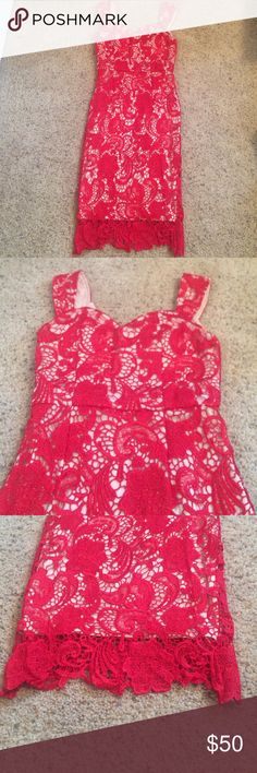 NWT Red Lace Dress So pretty! Padded breast. Exposed zipper in back. Small slit in back. Dresses