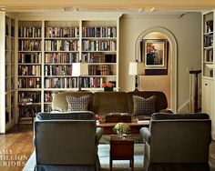Traditional Living Room Library