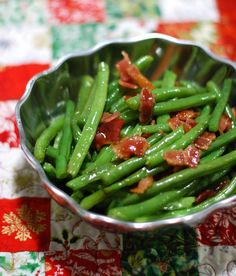 Green Beans & Crispy Bacon with brown sugar sauce // Twin Stripe