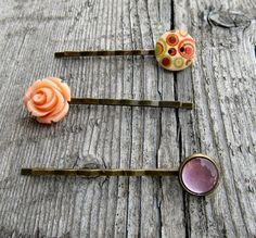 Fall colors hair pins flower hair pins peach rose by MontanaMagic