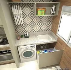 Lavanderia by Divonsir Borges Small Laundry Rooms, Laundry Room Design, Kitchen Design, Compact Laundry, Interior Design Living Room, Living Room Designs, Shop Interior Design, Laundry Room Organization, Kitchen On A Budget