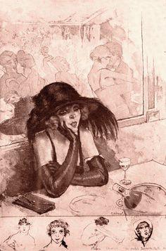 'La Petite Jeanne pâle' (1922) Édouard Chimot (illustrateur) from Art Deco Posters & Graphics by Jean Dellhaye (1977) (please follow minkshmink on pinterest) #flapper #bar  #twenties #flapper