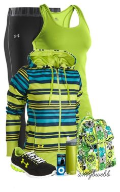Complete workout outfit for Under Armour tank, yoga pants and hoodie, with matching workout bag, iPod and running shoes. Workout Attire, Workout Wear, Workout Outfits, Workout Style, Workout Tanks, Athletic Outfits, Sport Outfits, Nike Outfits, Body Builder