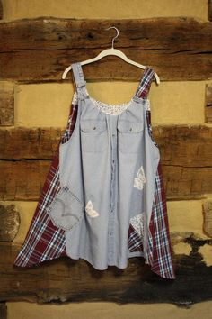 Womens Hippie Clothes Upcycled Chambray Plaid Denim by Sweetbriers