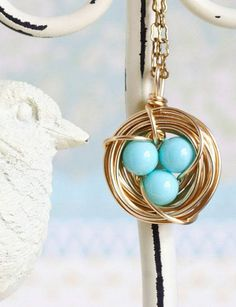 Aqua Birds Nest Necklace