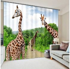 Cheap printed blackout curtains, Buy Quality curtains for directly from China blackout curtains Suppliers: Beautiful Giraffe 3D Photo Printing Blackout Curtains For Living room Girls/Kids Boys Bedding room Drapes Cortinas #ZebraPrintBedding