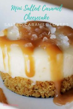 This Mini Salted Caramel Cheesecake is soft, creamy, delicious and addicting! This is perfect for Thanksgiving and a real treat for Salted Caramel lovers! Prepare this for Thanksgiving parties or any gathering that needs a decadent dessert! Salted Caramel Cheesecake, Pumpkin Cheesecake, Cheesecake Recipes, Cheesecake Tarts, Chocolate Cheesecake, No Bake Desserts, Dessert Recipes, Mini Desserts, Cupcake Recipes