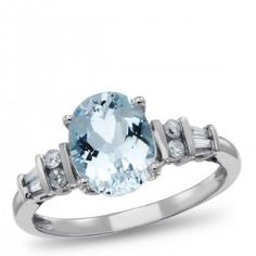 Sterling Silver, Aquamarine and Diamond Accent Ring, 1/6 ctw.