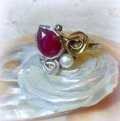 Goldsilver Marsala ruby pearl ring Marcala by EfratShifrin on Etsy