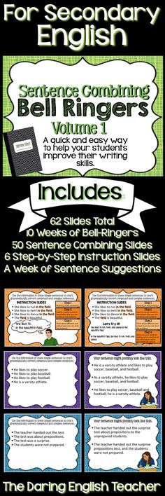 Improve student writing with sentence combining bell ringers. Ideal for secondary English classes.