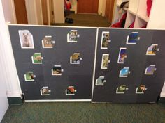 Animal Velcro matching game on gate. We cut animal cards in half and laminated them to the door for kids to match :)