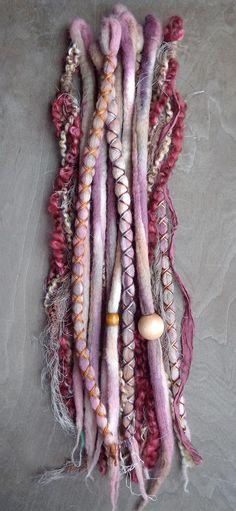 10pc Berry Custom Order Tie-Dye Beaded Wool Dreads Bohemian Hippie Dreadlocks Tribal Synthetic Boho Extensions