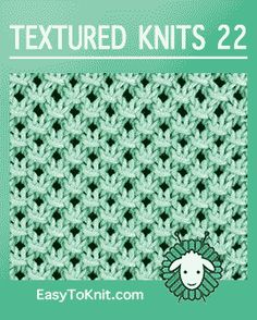 Easy To Knit: textured-knitting Easy To Knit: textured-knitting Always wanted to learn to knit, nevertheless unsure the place to begin? This specific Co. Knitting Squares, Knitting Stiches, Knitting Charts, Easy Knitting, Loom Knitting, Knitting Patterns Free, Stitch Patterns, Knit Stitches, Slip Stitch Knitting