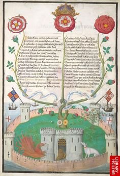 Image of an allegory celebrating the House of Tudor, Collection of motets by Richard Sampson and Benedictus de Opitiis, London (?), between 1509 and 1516, 495 x 345 mm, Royal MS 11 E xi, f. 2