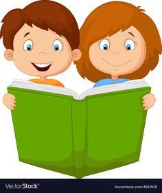 Cartoon boy and girl reading book vector image on VectorStock Girl Reading Book, Kids Reading Books, Student Cartoon, Cartoon Boy, Kids Room Art, Art For Kids, Teaching Kids Respect, Welcome To School, School Murals
