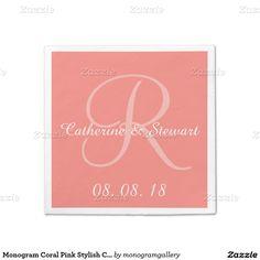 Monogram Coral Pink Stylish Color Design Wedding Standard Cocktail Napkin