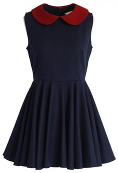 6818a4de3 Contrast Peter Pan Collar Skater Dress in Navy - sale - Retro