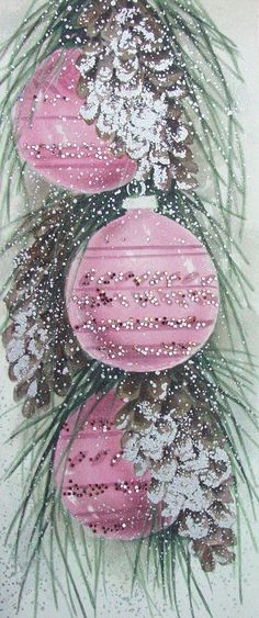 Vintage Pink Christmas Card-I love pink-I have always wanted to do an all pink Christmas tree.