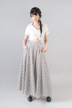 White cotton Striped long maxi skirt with by Julbyjuliagasin, ₪199.00