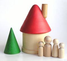 Wooden -Waldorf- Kids -Toy-Natural Wood Toy - Waldorf Inspired- Take n Go HOME- Wooden Doll House with Family and Tree