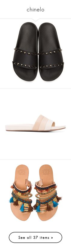 """""""chinelo"""" by ana-laura-silveira ❤ liked on Polyvore featuring shoes, flats, flat heel shoes, valentino flats, flat slip on shoes, rubber sole shoes, black rubber sole shoes, sandals, grey and flat leather sandals"""