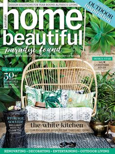 Great Outdoor Cushions Swaying Palms Aloe as featured on the cover of Australian Home Beautiful.