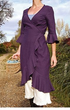 """romantic country frilly ruffle dress with pantaloons: """"Verity Hope"""" wrap dress in Loganberry color, by Malphi (Susannah Dashwood), 2008 http://malphi.typepad.com"""