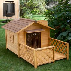 Your furry friend will lounge in style in the Merry Products Mansion Dog House with Heater . Made in a solid fir wood construction, this deluxe dog. Build A Dog House, Build Your Own Shed, Dog House Heater, Refuge, Backyard Sheds, Pet Home, Animal House, Dog Houses, Dog Supplies