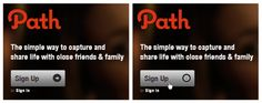 Path - Shows a smiley on thepressed state of its signup button.