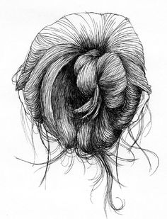 """Ian Thomas - """"In the context of lecture classes, there's only so much one can draw from life. The subject I thought most interesting, and found had the greatest variety, was my classmates' messy hair buns. This is a series of ink illustrations inspired by the drawings originally done in the margins of notes, like so much of my work."""""""