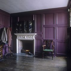 Plum Paneling There's no escaping the royal colors in this corner nook. By painting a heavily molded wall in an elegant eggplant hue, the space manages to feel both warm and sophisticated.